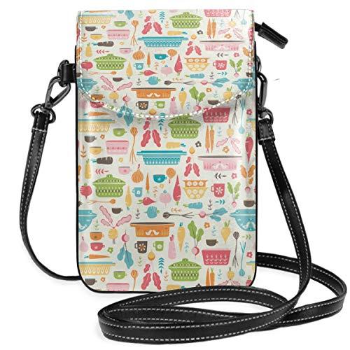 Kleine Handtasche für Handy, Umhängetasche, Vintage, Pyrex, Gemüse, Suppe, Smartphone, Geldbörse mit abnehmbarem Riemen Vintage Pyrex