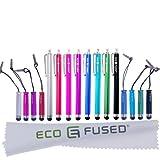 Eco-Fused Pacchetto Stylus Pen - Universale - 8 Lunghe / 8 Corte - Compatibile con Tutti i Dispositivi con Touchscreen Capacitivo - Per iPad, iPhone, Telefoni e Tablet Samsung, Tutti i Telefoni Android e Tablet e Altro