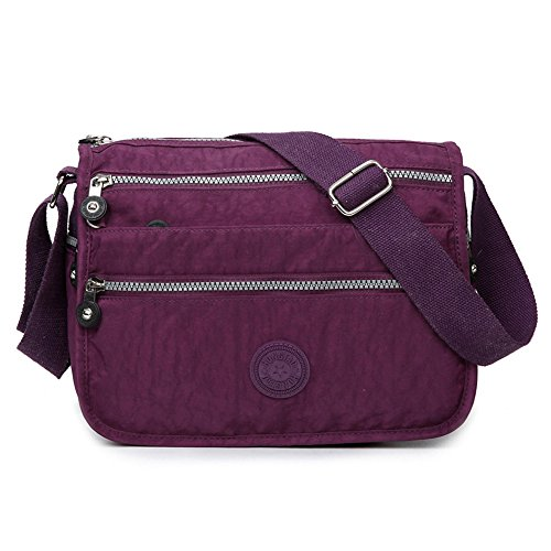 Moonbuy Womens Nylon/Fabric Multi Zip Pockets Lightweight Cross Body Shoulder Messenger Bag , Casual Handbag Travel Bag (Purple)