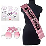 Party Propz Bride to Be Sash with Eye Glass and Photobooth Combo Pack for Bachelorette Party