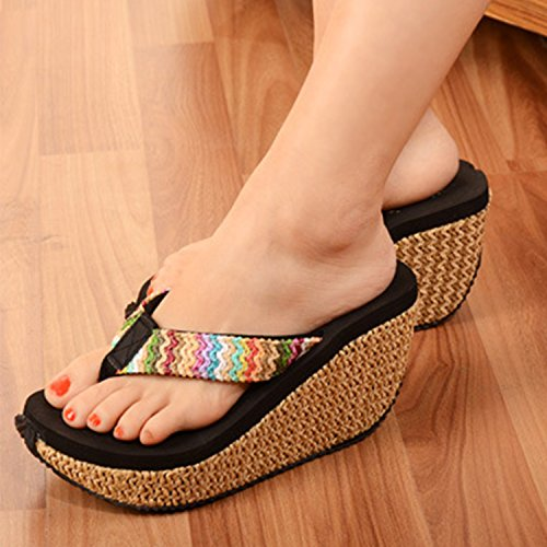 ca3b9a3a0a8 ... Oasap Women s Fashion Bohemian Wedge Heels Flip Flops Thong Sandals  Black