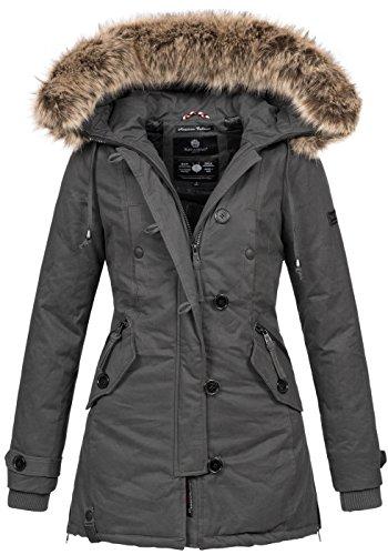 Navahoo Damen Designer Winter Jacke warme Winterjacke Parka Mantel B638 [B638-Pauline-Grau-Gr.S]