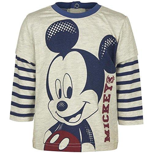 (4577 Cooles Kinder Langarm Shirt langärmlig Kindershirt Mickey Mouse Maus Jungen (beige, 18 Mon.))