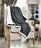 "Sherpa Throw Blanket, Fluffy Sofa Throws Blanket, Reversible Mink Fleece Blanket, Super Soft All Season Comfort Caring Gift, 127cm x 152cm (50"" x 60""), Grey by Catalonia"