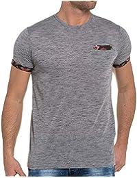 Deeluxe 74 - Tee-shirt gris chiné bords fleuris