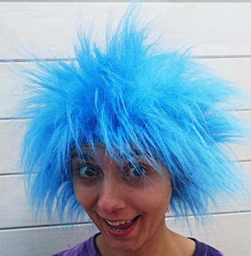 Seuss Kostüm Thing Dr 1 (Kids Blue Spiky Wig Fancy Dress)