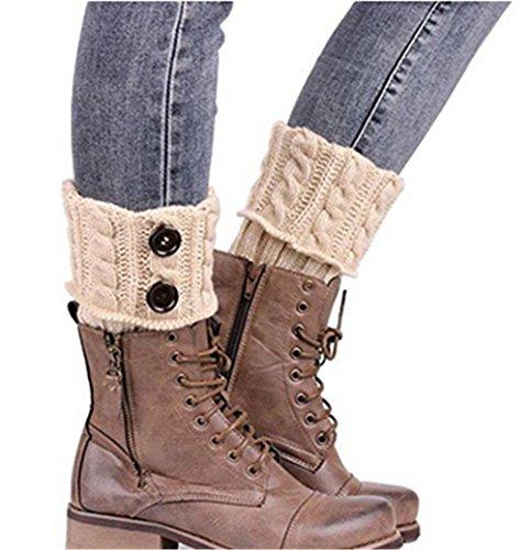 HENGSONG Damen Stricken Stulpen Socken Boot Abdeckung (Beige) (Socken Beige Stricken)