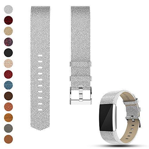 Feskio Fitbit Charge 2 Ersatz Weich Kalb Echtlederarmband, Zubehör Leder Klassisch Handgelenkband Band Armband für Fitbit Charge 2 Handgelenkband (Fitbit Xl Band)