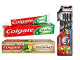 #2: Colgate Herbal Toothpaste - 200 g with Swarna Vedshakti Toothpaste - 200 g and Slim Soft Charcoal Toothbrush