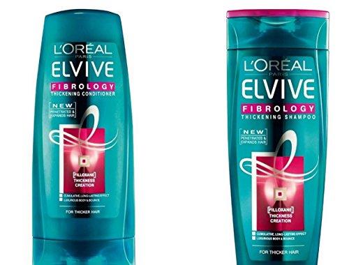 L'Oréal Paris Elvive Fibrology Value Pack 400 ml épaississant Shampooing, 400 ml Après-shampooing épaississant Lot. Grande bouteille Bundle.