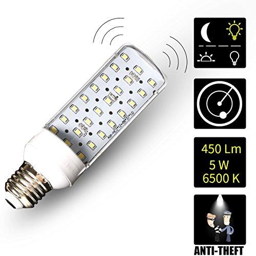 Haiyue Intérieur micro-ondes détecteur de mouvement lumière LED éclairages de sécurité sans fil Soir au Matin ampoule détecteur de mouvement activé lampe 6500K 220V 5W E27