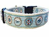 Hundehalsband Nylon türkis Maritim Nautic Anker blau Halsband kleine Hunde Schnalle GERMANY S - L (L: 2.5cm x 40-50cm)