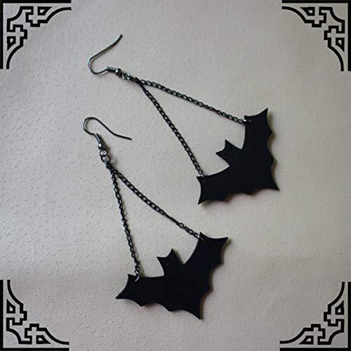 chwarzes Leder Vampir Fledermaus Weibliche Ohrringe Kh-0002 Ohrringe Für Frauen Geschenke ()