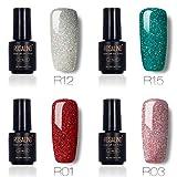 Juego de esmalte de uñas de gel con purpurina arcoíris para salón de uñas, UV y LED, esmalte...