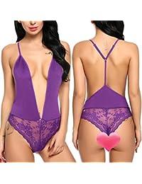 Modfine Conjunto de Babydoll Asimétrico de Encaje Transparente de Lencería  Sexy para Mujer ... 2e55499b0c88