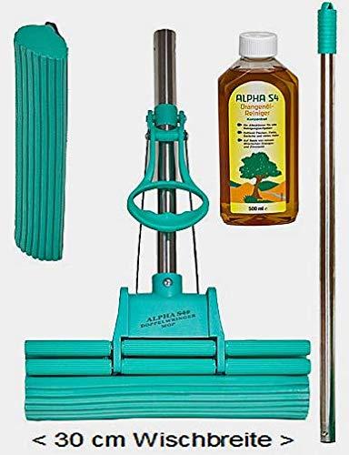 Alpha S4® Original Green DOPPELWRINGER® 30cm - 4 teilig, 1 Ersatzschwamm, 1 x 500ml Alpha® Original Orangenölreiniger Hochkonzentrat, Schaft + Stiel = Edelstahl, die Originale von QVC, RTL, HSE