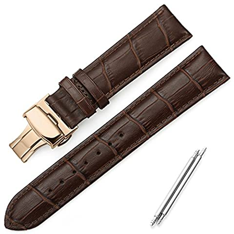 iStrap 18mm Genuine Leather Watch Band Aligator Grain Replacement Strap Rose Gold Deployment Buckle -