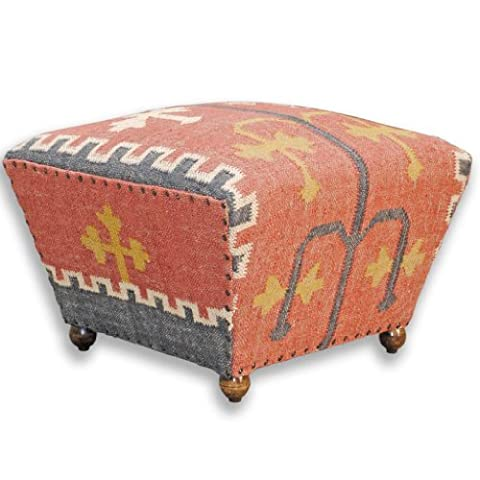 Homescapes Upholstered Ottoman Tapered Seat Coffee Table or Footstool with