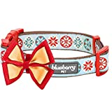 Blueberry Pet Weihnachtszeit Halsbänder 2,5cm L Momente des Glücks Retro Schneeflocken Designer Hundehalsband mit Abnehmbarer Fliege