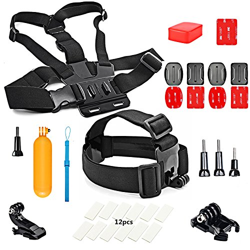 SHOOT Zubehör Set 6in1 Sports Kit Bundle für GoPro 5/4/3+/3/2 Sport-Kamera Kopf + Brustgurt + Schwimmende Bar + Float + Anti-Fog interts + Aufkleber + Adapter