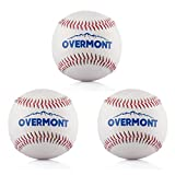 Overmont 3pcs Softball Baseball Softball Synthetic Leather, White
