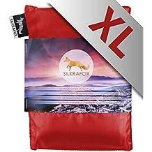 Silkrafox XL - Saco de dormir ultraligero para las excursiones de senderismo, ancho extragrande 95 cm, los viajes, las acampadas, seda artificial, rojo