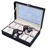 The perseids Watch Storage Display Box Reloj de lujo con delicados patrones Gentle Faux Leather Inside para 12 relojes Organizador de joyas de almacenamiento(Negro)