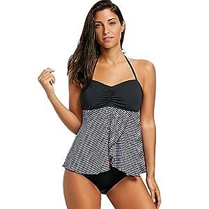 Sexy Bikini Set Collo Appeso Donna Costume da Bagno Tankini Motivo a Scacchi Pantaloncini da spiaggia Estate Gilet 1 spesavip
