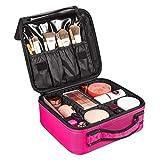 Make Up Etui, SOLOFISH Professionelle Make-up Tasche Kosmetik Organizer Kosmetische Box mit Einstellbare Fächer und Griff Tragbarer Kosmetikkoffer für Reise (Rosa) MEHRWEG