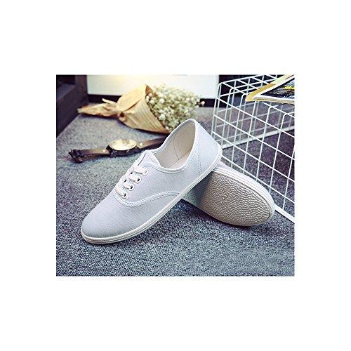 OCHENTA Femme Tennis basse Baskets Mode En Toile Chaussure De Sport Léger Sneakers Basse Bleu clair