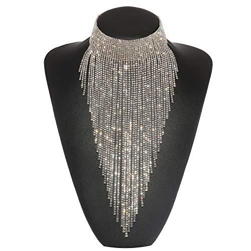 Holylove Damen Statement Halskette Silber, Costume Halskette für Damen Neuheit Mode Schmuck 1 Pc mit Geschenkbox- HLN023 Silver