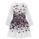 Little Hand Robe Fille Enfant Papillon Robe de Soirée/ Princesse/Ceremonie/ Casual Mignon Manche Longue Robe Vintage Blance Hiver Habille 6 7 8 9 10 ans