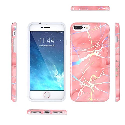 iPhone 6 Plus Case, Laser Bling Soundmae Personalized Marble Design [Glossy Soft Touch Feeling Case] Shiny Color Changed Sparkling Back Cover for iPhone 6 Plus 5.5, Gary Pink Bling