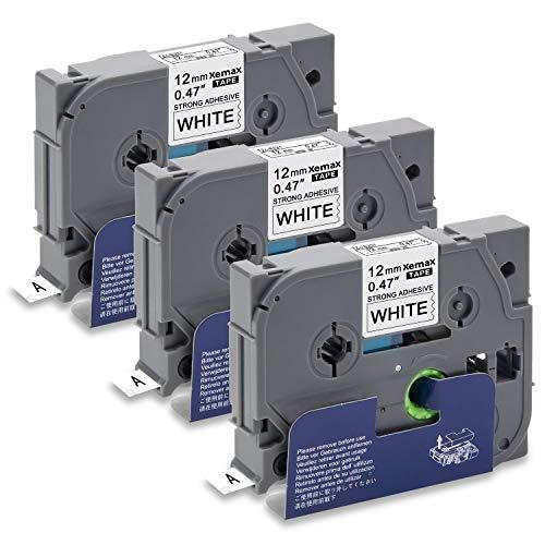 Xemax 0.47' P-touch Tze-S231 TZ-S231 Nero su Bianco 3 Rotoli Adesivo Forte Nastri, 12mm x 8m, Sostituire per Brother P-touch PT-1010 PT-P750W PT-D600VP PT-H101C PT-H75 PT-2030VP PT-1000 PT-H105