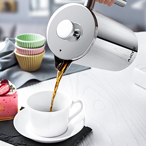 Aicok Kaffeebereiter mit Edelstahlfilter, Kaffeekanne, French Press System mit Zweilagiger Edelstahl Konstruktion – 1L - 2