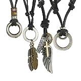 Adramata 3-4 Pcs Collar de Cuero para Hombre Vintage Collar Colgante para Hombres Mujeres Ajustable