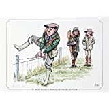 """""""He seems to have a problem getting his leg over"""" Pheasant shooting or hunting themed, cartoon, limited edition and signed original print by Bryn Parry. Perfect gift for the downstairs loo, study, shoot room. Limited run of 850 only and signed and numbered by the artist."""