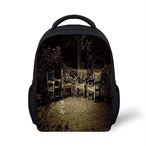 Kids School Backpack Hobbits Stylish,Four Small Wooden Rustic Chairs in Backyard Hobbit Land New Zealand Sepia Image for School Travel,9.4