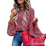 XingYue Direct Maglietta a Maniche Corte con Scollo a Campana Tromba a Righe Rosse da Donna (Color : Red Strip, Size : L)