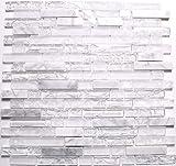 30cm x 30cm Matte klare, opakes und gebrochener Glas optik und Stein Mosaik Fliesen in weiß (MT0153)