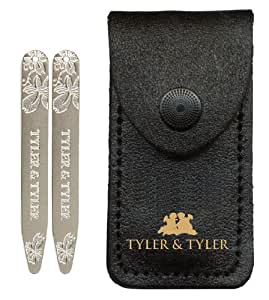 Tyler & Tyler Vine Indented Collar Stiffeners, Satin Silver Finish In Leather Wallet