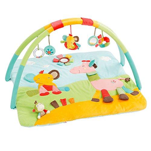 Fehn 074277 3-D-Activity-Decke Safari – Spielbogen mit 5 abnehmbaren Spielzeugen für Babys Spiel & Spaß von Geburt an – Maße: 80x85cm