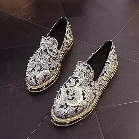 spritech (TM) Femme Fille Fashion givré en cuir Chunky bout pointu talon eleant Pompes Chaussures, noir, US:6.5
