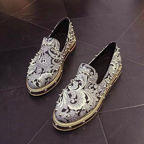 Spritech (TM) da donna alla moda, con rivetti, in stile vintage, fantasia floreale, fondo-Scarpe Casual da uomo, Grigio, US:7
