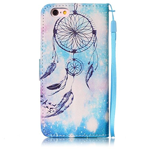 iPhone 6 Hülle, iPhone 6S Hülle, Gift_Source [ Wolf ] Stand Hülle Etui with Karte Halterung Leder Wallet Klapphülle Flip Book Case TPU Cover Bumper Tasche Ultra Slim für Apple iPhone 6s/6 E1-Blaue Campanula