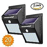 Luci Solari, Lampade Solari da Esterno 20 LED con Sensore di Movimento Illuminazione Solar Luce Solare per Passerella da Giardino Patio Patio Yard Stairs