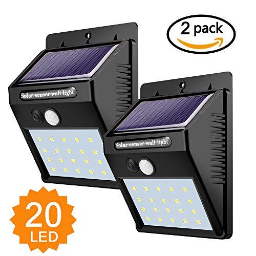 Foco Solar,Luces Solares 20 LED,1200mAh Lámparas Solares de Pared Impermeable,Luz de solar,Luces...