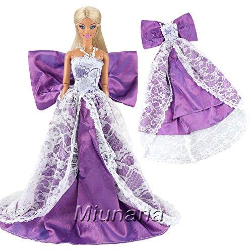 852aea991e5a Miunana Vestito Lungo Con Farfalla Per Bambola Barbie Dolls - Violetto
