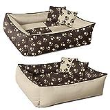 Beddog 2in1 MAX QUATTRO beige/marrone XXL, 120x85 cm, letto per cane L fino a XXXL, 8 colori a scelta, cuscino per cane, divano per cane, cestino per cane