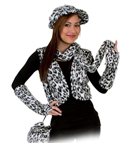 Kostüm Plüschweste Leo weiß Schneeleopard Karneval Fasching für Erwachsene Gr M - XL (XL)